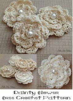 Dainty Crochet Flower Free Pattern. So pretty!! ༺✿Teresa Restegui http://www.pinterest.com/teretegui/✿༻
