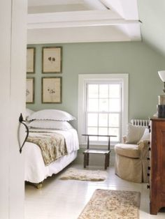 Framed Leaves    Soft green walls and a white-painted floor give the master bedroom in this Connecticut farmhouse a soothing appearance. A collection of framed 19th-century pressed leaves and flowers substitute for a traditional headboard.
