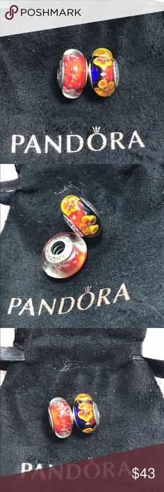 2 Pandora glass beads New. All Sterling Silver stamped 925. No trade Pandora Jewelry Bracelets