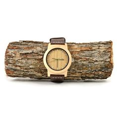 NEW Real WOOD Minimalist Watch - Made from Maple Wood and Dark Leather Calfskin Strap