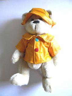 "Harper Brass Button Bear Collection Stuffed Animal Plush Toy Yellow Raincoat13""  #BrassButtonPickford"