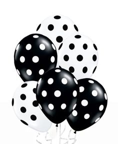 24 Assorted Black and White Polka Dot Balloons!