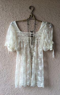 Image of Anthropologie sheer mesh lace peasant top with tassle sleeves
