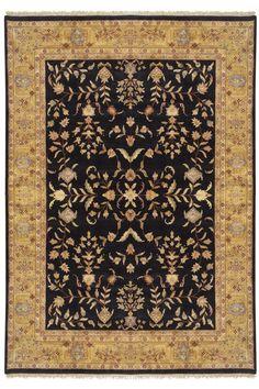 """Hand knotted fine quality Tabriz Oriental rug in black and gold from Nejad Rugs www.nejad.com in Doylestown Bucks County.  Rug Design M023 BK/GO Room & Area Sizes Available: 14'x24', 12'x18',12'x15',10'x14', 9'x12', 8'x10', 6'x9', 5'x7', 4'x6', 3'x5', 2'x3' Rounds: 5' Round, 6' Round, 8' Round, 10' Round Hall & Staircase Runner Sizes: 2'6""""x6', 2'6""""x8', 2'6""""x10', 2'6""""x12, 2'6""""x20'"""