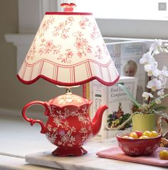 temp-tations® Floral Lace Teapot Lamp :: temp-tations® by Tara temp-tations® Teekannenlampe aus floraler Spitze :: temp-tations® by Tara Teapot Lamp, Red Teapot, Teacup Crafts, Lampe Retro, Red Cottage, Red Kitchen, Lampshades, Shabby Chic Decor, Country Decor