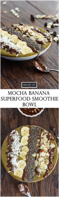 Mocha Banana Superfood Smoothie Bowl Dairy Free Vegan Recipe   ahealthylifeforme.com