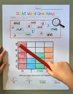 Idea-Sight Word Graphing. Make with our kindergarten sight words. Literacy center.