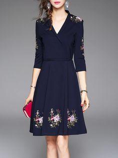 Dark Blue V Neck Floral 3/4 Sleeve Embroidered Midi Dress