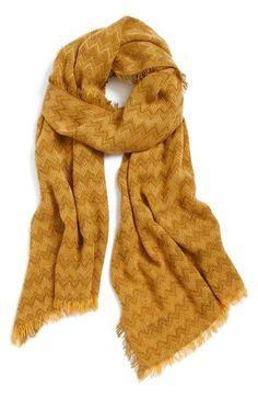 mustard yellow chevron print scarf