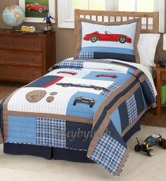 teen boy bedding | boys cars blue red twin quilt sham bedding set cars quilts are made of ...