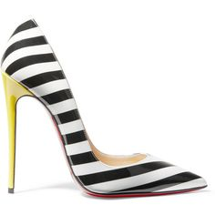 Christian Louboutin So Kate 120 striped patent-leather pumps, Women's,... (61470 DZD) ❤ liked on Polyvore featuring shoes, pumps, heels, christian louboutin, patent leather shoes, patent leather pointy toe pumps, patent pumps, patent leather pumps and pointed-toe pumps