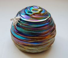 John Ditchfield Glasform. Beehive paperweight iridescent.