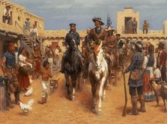 Expedition at Bent's Fort - Western Oil Painting by Andy Thomas