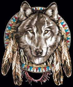 Native American Indian Jumbo Wolf Head and Feathers T Shirt UNISEX Sizes