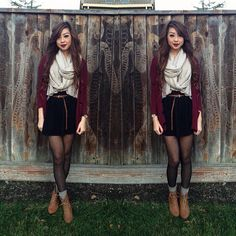 Light gray scarf + maroon cardi + belted black high-waisted bodycon skirt + black tights + gray boot socks + lace-up boots