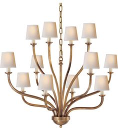 Visual Comfort E.F. Chapman Normandy 12 Light Chandelier in Antique-Burnished Brass CHC1446AB 33W x 27H