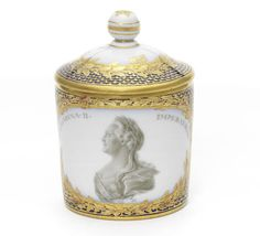 A Berlin blue-ground portrait cup and cover, circa 1785-90