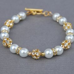 Bridal Pearl Bracelet White Pearl and Gold by AMIdesigns on Etsy, $24.00