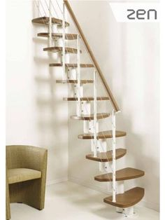 Accessories & furniture,Attractive Space Saver Staircase For Minimalist Home Ideas With Wooden Top Rail Combine Horizontal Baluster Featuring Wooden Tread Thickness,Fascinating Space Saving Stairs Design Ideas For Your Home Space Saver Staircase, Small Staircase, Loft Staircase, House Stairs, Staircase Design, Spiral Staircases, Rustic Stairs, Modern Stairs, Attic Spaces