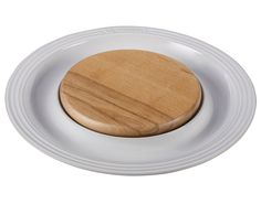 Round Platter with Cutting Board - White