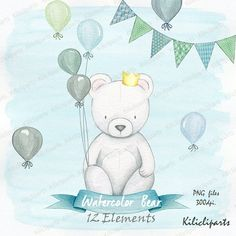 Hey, I found this really awesome Etsy listing at https://www.etsy.com/listing/386676254/watercolor-bear-clipart-bear-banner-and
