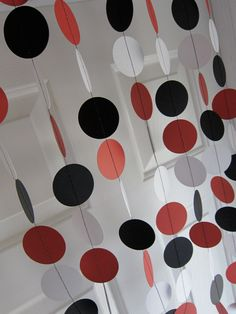 Paper Garland, Decorations, Red, Black, & White Circles, Shower, Birthday Party, Mickey Mouse Party, Circus Party, Pirate Party. $12.00, via Etsy.