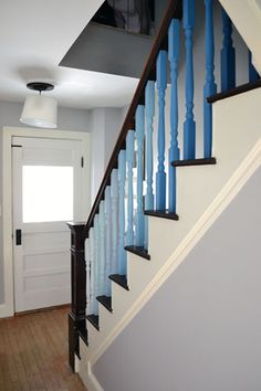 Blue Ombre Balusters On Staircase