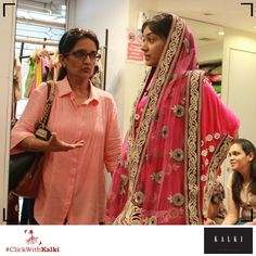 #ClickWithKalki #customers #red #pink #saree #shopping #wedding #bordered #desi #ethnic