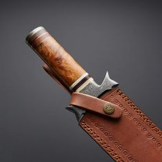 (1) |Knives Hub| Custom Handmade Damascus Steel Dagger Knife With Leather