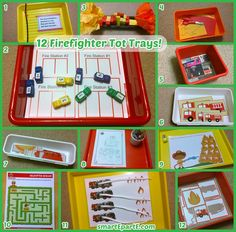 12 [More] Firefighter Tot Trays! (Fireman Sam printables, counters, cutting, matching...)