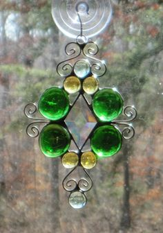Stained Glass Suncatcher, Wire, Bevel, Green & Amber Nuggets. $14.00, via Etsy. Cartersstainedglass shop