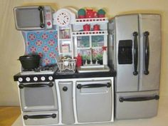 Our generation kitchen remodel for american girl dollhouse American Girl Toys, American Girl Furniture, American Girl Crafts, Ag Doll Crafts, Doll House Crafts, Kitchen Sets, Diy Kitchen, Kitchen Things, Ag Doll House