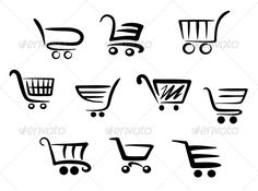 Buy Shopping Cart Icons by VectorTradition on GraphicRiver. Shopping cart icons set for business and commerce projects. Editable (you can use any vector program) and JPEG (. Logo Desing, Minimal Logo Design, Graphic Design, Supermarket Logo, Supermarket Design, Mini Mercado, Shopping Cart Logo, Express Logo, Cart Icon
