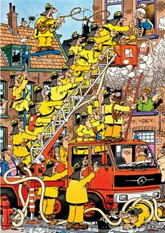 Damsel in Distress (Brandje Blussen) - Jan van Haasteren puzzels Puzzle Pad, Cartoon Puzzle, Picture Writing Prompts, Damsel In Distress, City Illustration, Cartoon Art Styles, Space Crafts, Funny Cartoons, Cool Artwork