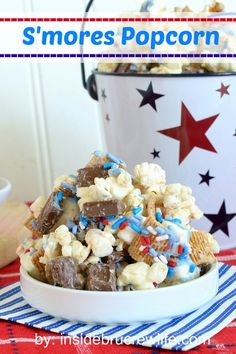 S'mores Popcorn  - sweet and salty popcorn tossed with marshmallow, Golden Grahams, and chocolate bars