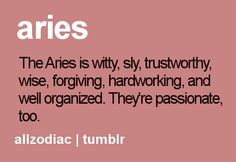 The Aries is witty, shy, trustworthy, wise, forgiving, hardworking, and well organized. They're passionate, too.  #Aries