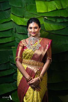 Karthik ~ Aishwarya – Studio A Indian Bridal Fashion, Indian Wedding Outfits, Indian Outfits, Indian Weddings, Half Saree Designs, Blouse Designs, Saree Wedding, Wedding Shoot, Gold Wedding