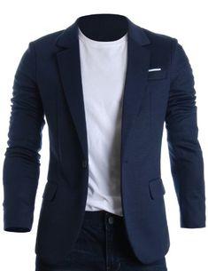 FLATSEVEN Hommes Slim Fit Casual Premium Blazer Jacket Navy, Boys L  #FLATSEVEN #vetement #fashion #homme #veste