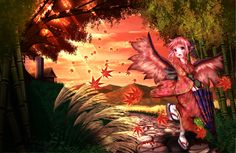 autumn ddfftasogare grass japanese_clothes mystia_lorelei pink_eyes pink_hair short_hair touhou wings