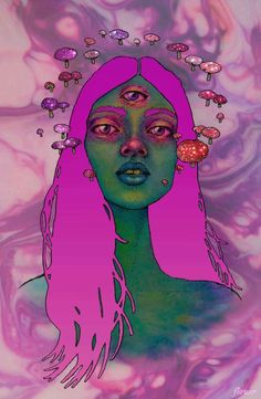 """All women should have an extra opening.it's called a Third Eye.not """"extra opening """". Psychedelic Art, Trippy Drawings, Art Drawings, Art Pop, Illustration Art, Illustrations, Psy Art, Hippie Art, Dope Art"""