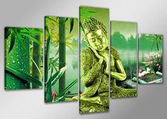 Een opvallend groen-gouden Boeddha schilderij. Eens iets wat anders dan een standaard Boeddha beeld!