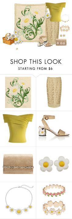 """Daisy up with tan and yellow"" by barebear1965 ❤ liked on Polyvore featuring N°21, Chicwish, Prada, Jimmy Choo and Accessorize"