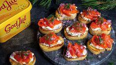 Bruschetta med røkelaks - Bremykt Frisk, Bruschetta, Baguette, Tapas, Cheesecake, Baking, Ethnic Recipes, Desserts, Food