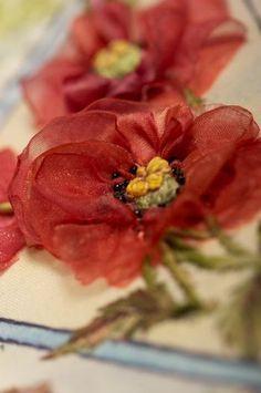 *RIBBON ART ~ How to make Corn Poppies with organza ribbon - tutorial - ribbon embroidery/stumpwork