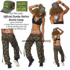 ZUMBA Nation 3Pc.Set!! Mashed Up Cargo Capri Pants+Hooded Bra +Patched Cap S M L #ZumbaOfficialZumbaFitnessZUMBA #CargoPantsConvertstoCaprisBraTopCap