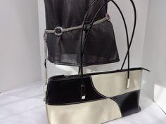 80s chain belt w VTG matching blk & wht Contrast purse Plastic Zebra Print links #UnknownVintage #80s