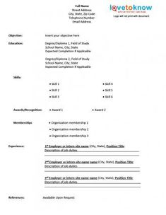 Free Resume Templates   Blank Printable Fill In For    Excellent