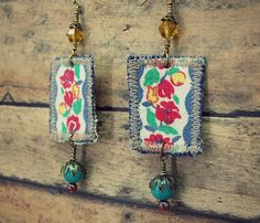 Vintage Fabric Earrings Gypsy Hippie Boho by GallimaufryClothing, $20.00