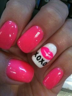 Hot Pink Nails with White Accent Nail & Kisses