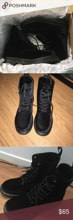 Black Velvet Dr. Martens Black Velvet Doc Martens. In perfect condition! Only worn twice! Still have the box not the tags! Open to offers 🙂 Dr. Martens Shoes Combat & Moto Boots